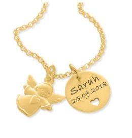 Taufkette vergoldet mit Engel Gravur Namenskette