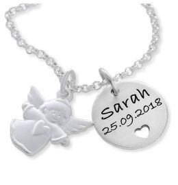 personalisierte Kette  925 Silber Taufe Schmuck Geschenk Geburt Baby