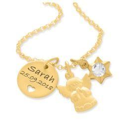 Taufkette vergoldet Gravur Namenskette Schutzengel gold