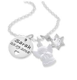 Schutzengel Kette 925 Silber Gravur Namensanhänger Herz