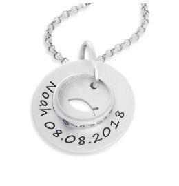 Taufkette Gravur Name Tauffisch Ichthys Taufring 925 Sterling Silber