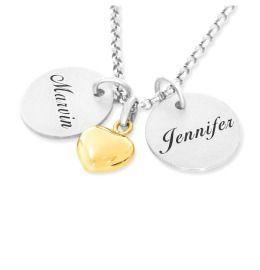 Namenskette mit vergoldetem Herz Anhänger