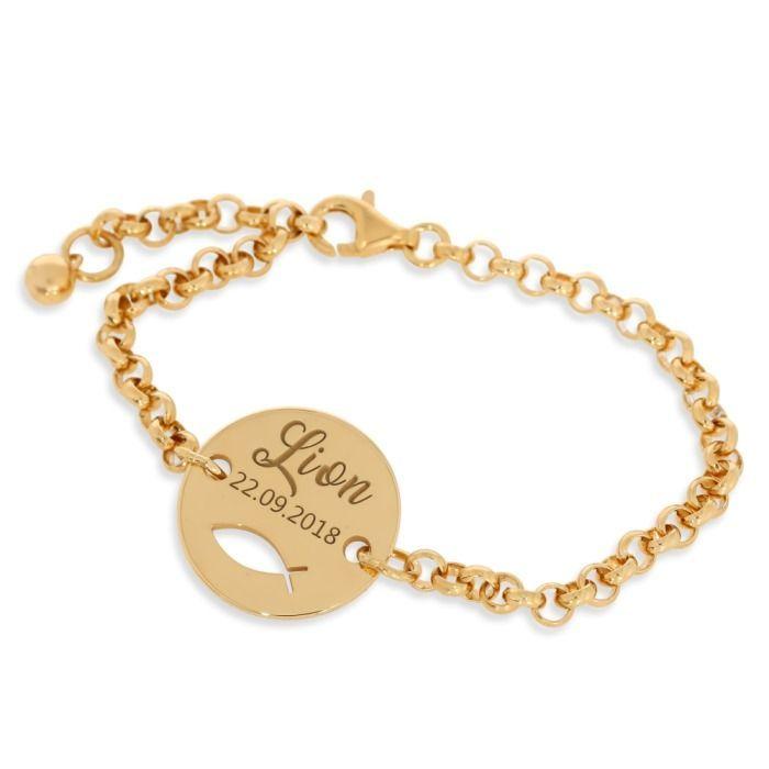 Taufarmband Gravur Name Datum Armband Junge Mädchen Vergoldet