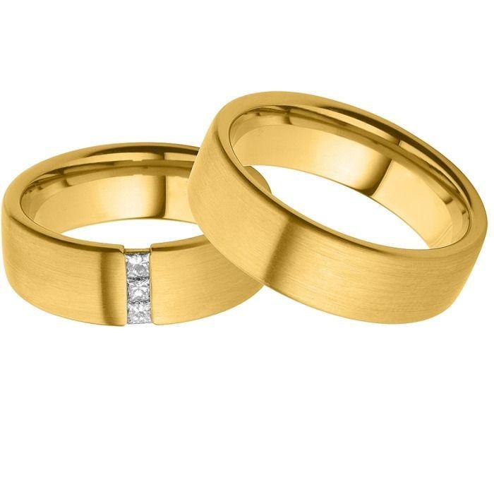 Geliebte Trauringe schlicht matt Gelbgold Diamanten | JOOLYN &LW_36