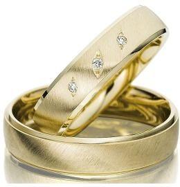 Klassische Trauringe Gelbgold Diamanten