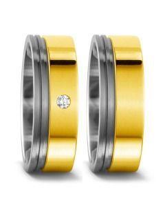 exklusive Titanium Trauringe mit 750/- Gelbgold & Brillant