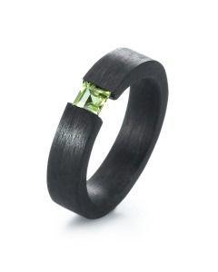 Carbon Peridot Ring