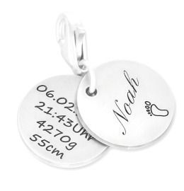 Anhänger Charm mit Namen, 925 Silber
