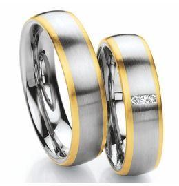 Edelstahl bicolor Trauringe mit Gold schlicht & elegant