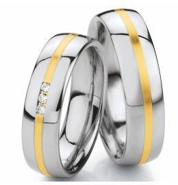 Hochzeitsringe poliert mit Brillanten aus Edelstahl & Gold