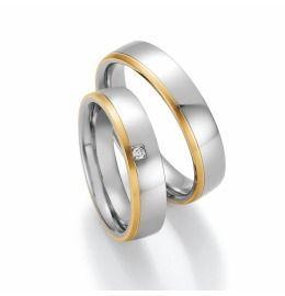 schlichte Eleganz, 950/- Platin mit 750/- Gelbgold, Eheringe, Partnerringe