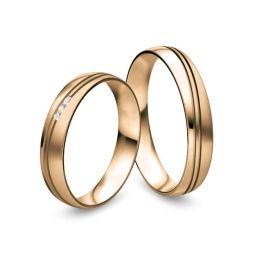 elegante auffalende Eheringe aus 585/- Rosègold mit Brillanten