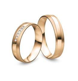 edle mattierte Eheringe aus 585/- Rosègold mit Diamanten