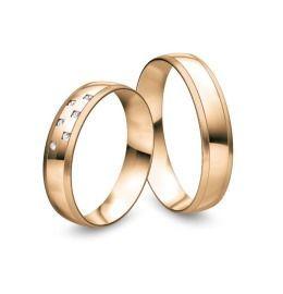 elegante Eheringe aus 585/-Rosègold mit Diamanten