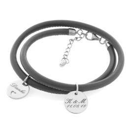 Nappalederarmband mit Gravur, Trauzeugin Geschenk, Inititialen Gravur, Lederarmband Damen