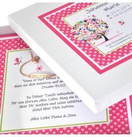 Schmuckschachtel mit Wunschtext ID Armband für Kinder rosé vergoldet mit Namen Gravur