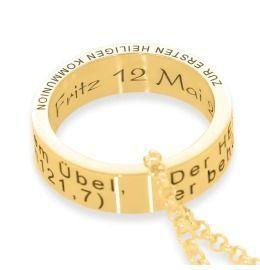 Kette Kommunion Anhänger Ring Gravur vergoldet