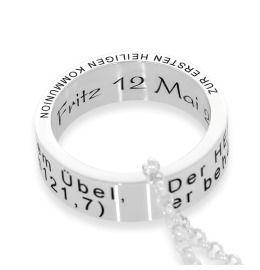 Kette Gravur Taufring 925 Silber Ring Taufe Kommunion