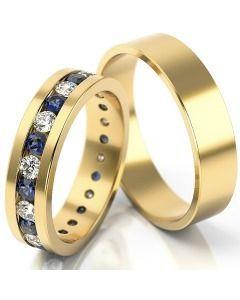 Trauringe bicolor Gelbgold Diamanten schlicht modern