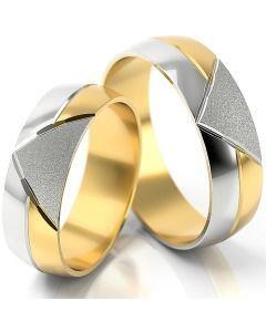 Trauringe bicolor Weißgold & Gelbgold auffälliges Design Partnerringe