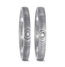 3mm Damaszener Stahl & Titan Trauringe mit Brillant