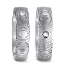 6mm Damaszener Stahl & Titan Trauringe mit Brillant