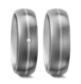 edle schlichte Hochzeitsringe aus Titanium mit 950/- Palladium