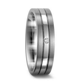 Titanium mit Palladium Damenring klassisch elegant