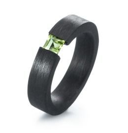 Carbon Peridot Ring