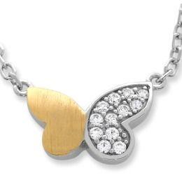 bicolor Schmetterling Anhänger mit Zirkonia, Damenkette
