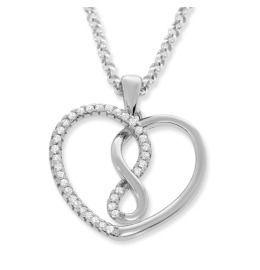 Kette mit Herz Anhänger, Zirkonia Herz, Infinity