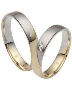 edle Hochzeitsringe schlicht Weiß-& Gelbgold