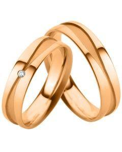 elegante Eheringe Verlobungsringe Rotgold Diamant