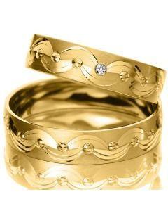 Trauringe Gelbgold Verlobung gemustert elegant