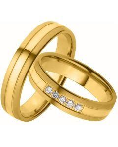 Gelbgoldene Eheringe schlicht elegant Diamanten