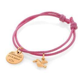 Armband mit Namen zur Taufe rosé vergoldet Gravur Bauwollband