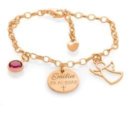 Schutzengel Armband Gravur Namenskette rosé vergoldet