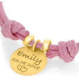 Armkettchen mit Namensgravur vergoldet, Baumwollarmband für Kinder