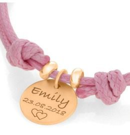 Baumwollband mit Gravur Anhänger rosé vergoldet, Namensschmuck roségold