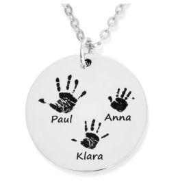 Fingerabdruck Kette 925 Silber, Halskette mit Fingerabdruck Handabdruck, Geschenk Mama