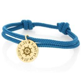 Armband 3mm Segeltau blau Koordinaten vergoldet