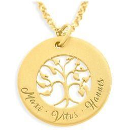 Familienkette mit Lebensbaum, Tree of Life, Kette mit Gravur vergoldet