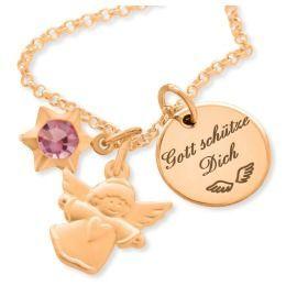 Taufkette Engel Namenskette rosé vergoldet Gravur Schutzengel