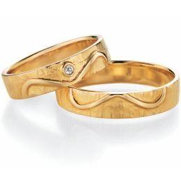 Trauringe Gelbgold Unendlichkeit schlichte mit Diamant Partnerringe