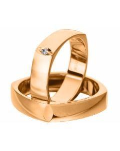 Trauringe Rosegold Diamant schlichte Eheringe