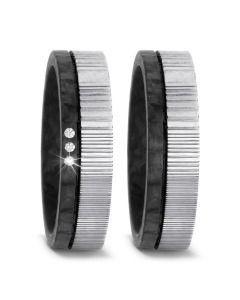 Trauringe Damaszener Stahl Carbon Diamanten