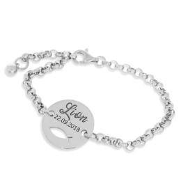 Namensarmband 925 Silber Tauffisch Geschenk Taufe