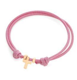 Einstellbares Charm Armband für Kinder, Kreuz Anhänger rosé vergoldet