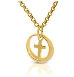 Kette mit Taufring Kreuz Anhänger vergoldet