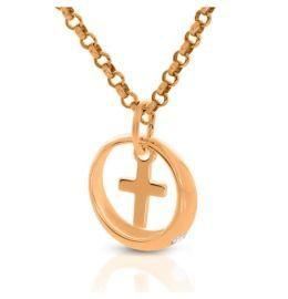 Taufkette mit Ring Anhänger Taufring mit Kreuz rosé vergoldet